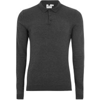 Mens Charcoal Grey Muscle Fit Knitted Polo, Grey