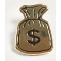 Pintrill Gold Money Bag Pin Badge, Gold