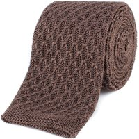 Gibson Brown honeycomb textured knitted tie, Brown