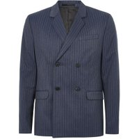 Mens Blue Pinstripe Double Breasted Suit Jacket, Blue