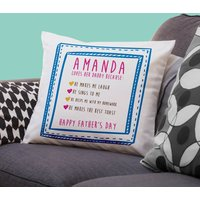 Personalised Girl's I Love Daddy Because; Cushion