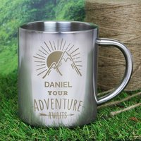 Personalised Adventure Awaits Metal Mug