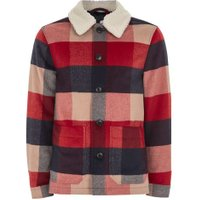 Mens Red Borg Collar Check Shacket, Red