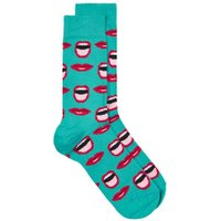 Mens Blue Turquoise 'Mouthy' Socks, Blue