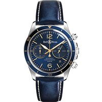 Bell & Ross BRV294-BU-G-ST/SCA Men's Vintage Aeronavale Chronograph Automatic Date Leather Strap Wat