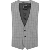 Mens Mid Grey Grey And Black Check Muscle Fit Suit Waistcoat, Mid Grey