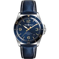 Bell & Ross BRV292-BU-G-ST/SCA Men's Vintage Automatic Date Leather Strap Watch, Navy