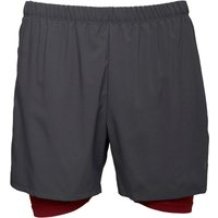 Asics Mens 2 In 1 5 Inch Running Shorts Dark Grey/Pomegranate
