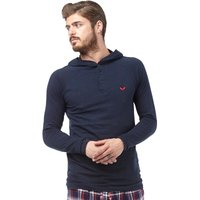 Brave Soul Mens Hooded Lounge Top Navy