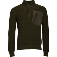 Duck and Cover Mens Lunar Knitwear with Self Fabric Placket Fleece New Peat
