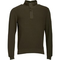 Duck and Cover Mens Strand Knitwear with Self Fabric Placket Fleece New Peat