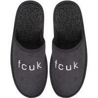 French Connection Mens FCUK Slippers Charcoal
