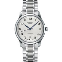 Longines L26284786 Men's Master Collection Automatic Date Bracelet Strap Watch, Silver/White