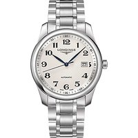 Longines L27934786 Men's Master Collection Automatic Date Bracelet Strap Watch, Silver/White