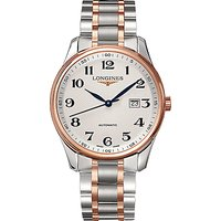 Longines L28935797 Men's Master Collection Automatic Date Two Tone Bracelet Strap Watch, Silver/Rose
