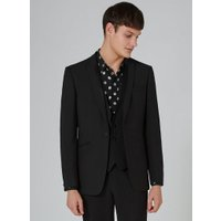 Mens Black Textured Skinny Tuxedo Jacket, Black