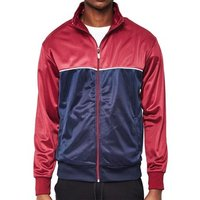 The Idle Man  Track Top Burgundy   Navy  men's Tracksuit jacket in Red