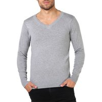 Krisp  Plain V-Neck Jumper  [Grey]  men's Sweater in Grey