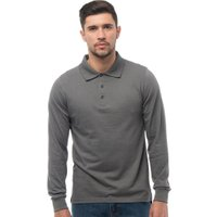Henleys Mens Long Sleeve Jersey Polo Charcoal