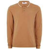 Mens Nude Light Brown Tipped Muscle Fit Polo, Nude