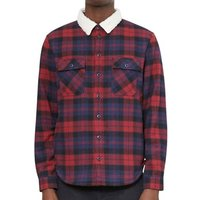 The Idle Man  Brushed Check Shirt with Borg Collar Blue   Red  men's Long sleeved Shirt in Blue