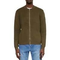 The Idle Man  Ribbed Stitch Bomber Jacket Green  men's Jacket in Green