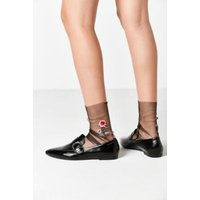 Out From Under Embroidered Tulle Sock, Black
