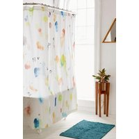Painterly Marks Shower Curtain, White