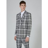 Mens LOCHCARRON X TOPMAN Black And White Tartan Double Breasted Skinny Suit Jacket, Black