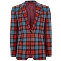 Mens Lochcarron X Topman Red And Blue Tartan Skinny Suit Jacket, Red