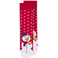 Mens Red Christmas Snowman Ice Socks, Red