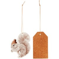 Linea Squirrel & Copper Glitter Gift Tags, Red