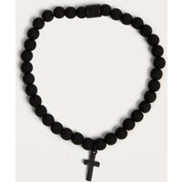Chained + Able Hanging Cross Beaded Bracelet, Black