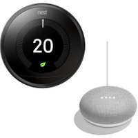 NEST Learning Thermostat & Home Mini Bundle, Black