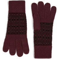 Mens Red Burgundy And Black Jacquard Knit Gloves, Red