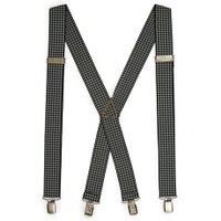 Mens Black and White Houndstooth Braces, Black
