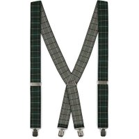 Mens Multi Braces in Black and Green Blackwatch Check Detailing, Multi