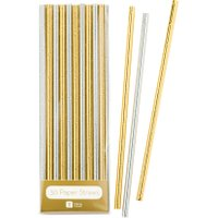 Talking Tables Modern Metallics Gold & Silver Foil Straws, Gold