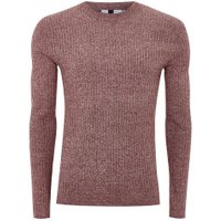 Mens Red Burgundy And White Twist Jumper, Red