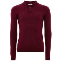 Mens Burgundy Muscle Fit Knitted Polo, BURGUNDY