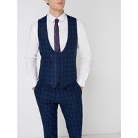 Men's Label Lab Turner Skinny Fit Large Check Suit Waistcoat, Blue