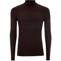 Mens Red Burgundy And Black Twist Muscle Fit Ribbed Roll Neck Jumper, Red