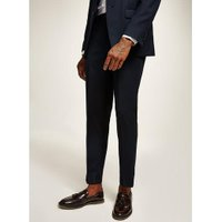 Mens Navy Textured Slim Fit Suit Trousers, Navy