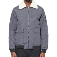 The Idle Man  Borg Collared Cotton Bomber Jacket Grey  men's Jacket in Grey