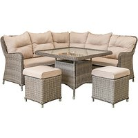 LG Outdoor Marseille 7 Seater Compact Modular Garden Dining Table and Chairs Lounging Set, Natural