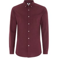 Mens Red Burgundy Stretch Skinny Oxford Shirt, Red
