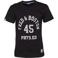 Fred & Boston Mens T-Shirt With Distressed Print Black