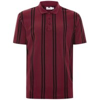 Mens Red Burgundy Stripe Pique Polo, Red