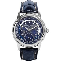 Frdrique Constant FC-718NWM4H6 Men's World Time Date Alligator Leather Strap Watch, Navy