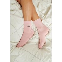 UO Embroidered Motif Socks, pink